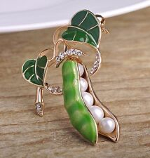 ENAMEL GREEN PEA BEAN IMITATION PEARL CRYSTAL GOLD PLATED FASHION WOMEN BROOCH