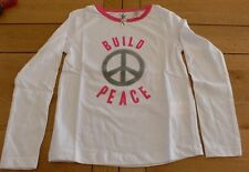 "5202 - T-shirt ML 5 ans blanc ""BUILD PEACE"" OKAIDI"