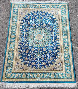 Signed Vintage Silk Carpet 32x45in Turquoise Aqua Blue Medallion Rug