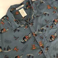 DISNEY PARKS Hawaiian Polynesian Aloha Mickey Mouse Tiki Camp Shirt S