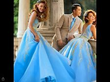 "Baby Blue Puffy Layered Wedding Bridesmaid Dress, Bust: 32-34"" Waist: 25-27.5"""