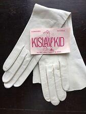 """Kislav Kid 16"""" White Leather Gloves 6 1/2"""