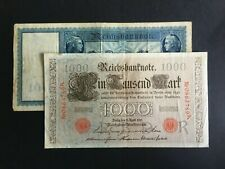 GERMAN EMPIRE. BERLIN 1910 ISSUED 100 & 1,000 REICHMARK NOTES -:- CIRCULATED.