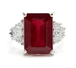 2Ct Emerald Cut Red Ruby Solitaire Women's Engagement Ring 14K White Gold Finish