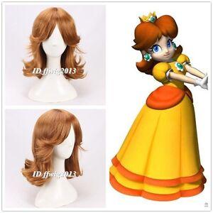 Super Mario Princess Daisy 35cm short Wavy Cosplay Wig +a wig cap
