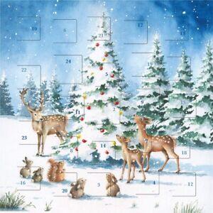 Traditional Animals Around the Christmas Tree Advent Calendar - 24 Door Design