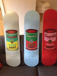 Andy Warhol Campbells Soup Skateboard Art set of 3 boards