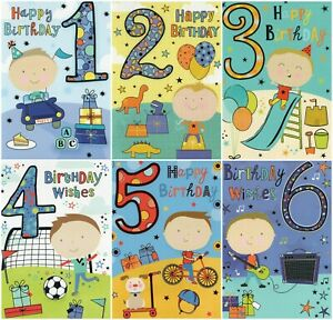 BOYS AGES - 1-2-3-4-5-6 - BIRTHDAY GREETING CARD -  MULTIPLE DESIGN'S - FREE P&P