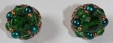 BEAUTIFUL VINTAGE TRIFARI JELLY-BELLY EMERALD GREEN, BLUE, GOLD CLIP EARRINGS