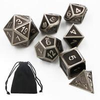 7pcs Heavy Metal Polyhedral Geprägt Würfel für TRPG Brettspiel DnD MTG SET