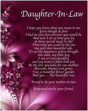 Personalised Daughter In Law Poem Birthday Christmas Christening Gift Present