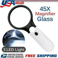 45X Handheld Magnifying Glass with 3 LED Light Magnifier Jewelry Loupe Lens