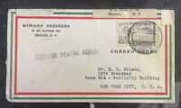 1930 Mexico City Mexico Commercial Airmail Cover to New York Usa