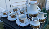 VTG MCM 1970s Stoneware Coffee SET Pot,5 Cups+Saucers, Creamer+Sugar Bowl