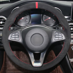 For Benz C180 C200 Top Leather Steering Wheel Cover Hand-stitch on Wrap Cover