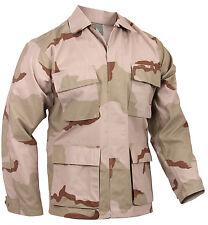Bdu Camisa Tri Color Camuflaje Desierto Rip Stop Cuatro Bolsillos Estilo Militar