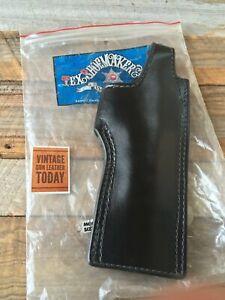 """Vintage Tex Shoemaker 45H SP Black Leather Lined OWB Holster For Colt 45 1911 6"""""""
