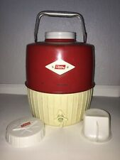 Vintage COLEMAN Red Water Jug Cooler 1 Gallon Diamond Emblem USA Working