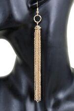Women Extra Long Gold Metal Chain Hook Fashion Jewelry Earrings Fringes Tassel