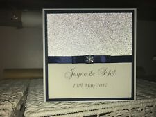 Wedding Invitation - Navy Ribbon with Silver Glitter Card & Diamante Snowflake
