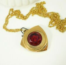 Gold Stone Women's Watch Necklace Zaria - Rare Soviet Mechanical Watch Pendant