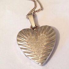 Vintage recargado de plata esterlina Doble Corazón Colgante & Cadena Collar
