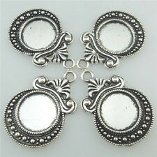 18336 15PCS Allloy Vintage Silver Carve Setting Base Tray Pendant For 12mm Cameo