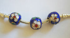 3 Cloisonne Charm Beads - Blue/Flower - 10mm - For European/Charm Bracelet
