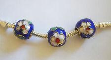 3 Cloisonne Charm Beads - Blue/Flower - 10mm - For European/Charm Bracelet