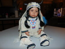 Porcelain Native American Indian Baby Infant Toddler Doll with Horned Hood Hat