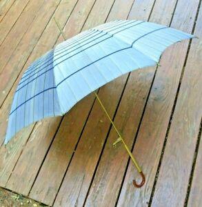 "Vintage Spiderweb Umbrella With Brass Amber Handle 42"" Eagle"