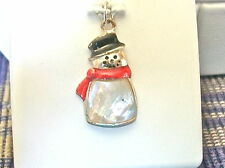 SNOWMAN CHARM-PENDANT STERLING SILVER MOTHER OF PEARL BODY; RED & BLACK ENAMEL