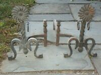 Vintage Cast Iron Flower Floral Andirons matching pair
