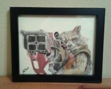Framed art/Rocket Raccoon color pencil drawing/guardians of the galaxy/marvel
