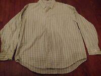 LL Bean Mens Long Sleeve Button Down Shirt Green Check Size XL