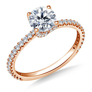 0.95 Ct Moissanite Round Cut Rose Gold Engagement Ring 18K Solitaire Girl ring