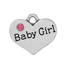 4 x Tibetan Silver Rhinestone Baby Girl Heart Pendant Charms 17m x 15mm