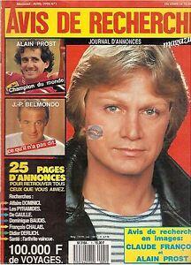 Magazine Avis De Recherche # 1 claude francois alain prost jean paul belmondo