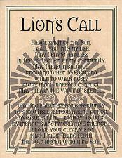 LION PRAYER Shaman Animal Spirit Poster 8 1/2 X 11 Page Art Celtic Wicca