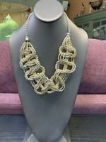 Vintage Shiny Silver And Gold  Woven Seed Bead Necklace 20 Inches Long