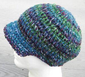 Sharp Green Mix Crocheted Larger Beanie with a Visor - Handmade by Michaela