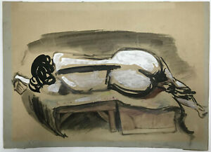 PAINTING Original Gouache ~ MAURICE STERNE ~c1925 Reclining Nude AMERICAN MODERN