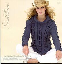 Sublime Aran Hand Knit Book 604 Cashmere Merino Silk Aran Patterns Men Women Kid