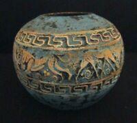 Handmade Terracotta Art Pottery Vase Bowl Incised Figures Blue