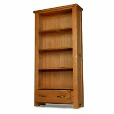 Rushden solid oak furniture large bookcase with drawer