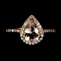 Unheated Pear Pink Morganite 9x6mm Cz Rose Gold Plate 925 Sterling Silver Ring
