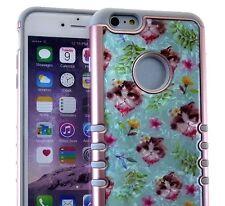 For iPhone 6 / 6S - HARD & SOFT RUBBER HYBRID ARMOR CASE BLUE FLOWER KITTEN CATS