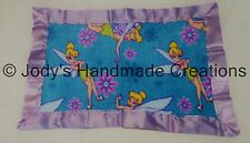 HANDMADE BABY FLEECE SECURITY BLANKET - DISNEY TINKERBELL / PURPLE EDGE 15 X 23