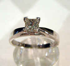 NEW SOLID 18K WG .40 CT PRINCESS CUT  DIAMOND ENGAGEMENT RING 2.9 GRAM SIZE 6.25