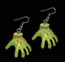 Funky GHOUL ZOMBIE SEVERED HANDS EARRINGS Frankenstein Monster Body Part Jewelry